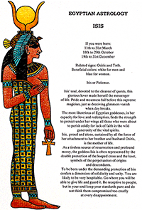 Egyptian Astrology Isis for Ivan Stein