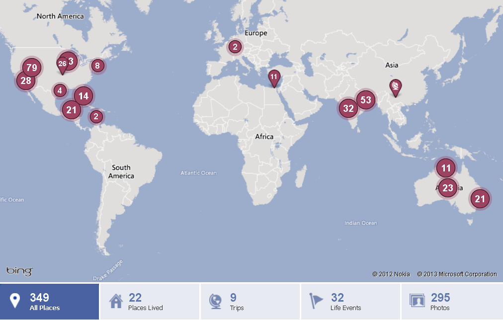 Facebook Map of Ivan Stein's World Travels